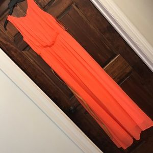 Gianni Bini Neon Orange Maxi Dress with belt